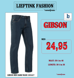 ACTIE: BRAMS PARIS HEREN JEANS GIBSON - DARK WASH DENIM 1331A17 - *actiejeans