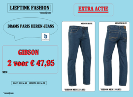 EXTRA ACTIE: 2 x BRAMS PARIS JEANS GIBSON - MEDIUM BLUE DENIM 1331A52 *actiejeans