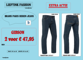 EXTRA ACTIE: 2 x BRAMS PARIS JEANS GIBSON - DARK WASH DENIM 1331A17 *actiejeans