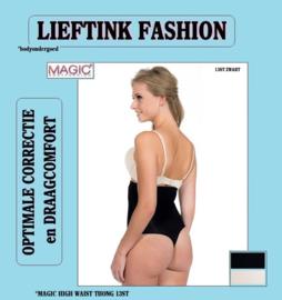 ACTIE: MAGIC HIGH WAIST THONG ZWART en HUID 13ST *corrigerend bodyondergoed