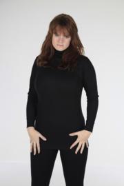 ACTIE: THERMO DAMES SHIRT L.M. met COL ZWART - WINTERSPORT ONDERGOED *bodyondergoed