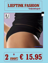 ACTIE: 2 x RJ - DAMES STRING 95/5 30003 - WIT en ZWART - BODY LINGERIE *casualunderwear