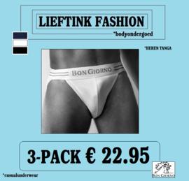 ACTIE ONLINE: 3-pack: - BON GIORNO  - TANGA - 100% Katoen *casualunderwear
