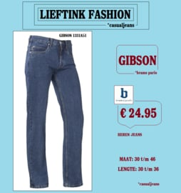 ACTIE: BRAMS PARIS HEREN JEANS GIBSON - BASIC BLUE DENIM 1331A51 - *casualjeans