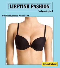 ACTIE: WONDERBRA ZWARTE BEUGEL DUBBEL PUSH-UP BH *bodyondergoed