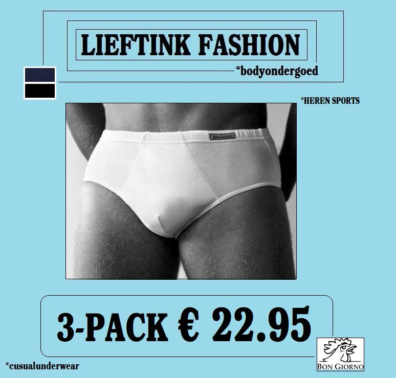 ACTIE ONLINE: 3-pack: - BON GIORNO SPORTS SLIP  - 100% Katoen *casualunderwear