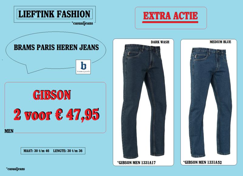 EXTRA ACTIE: 2 x BRAMS PARIS HEREN JEANS GIBSON - 1331A52 + 1331A17 *actiejeans
