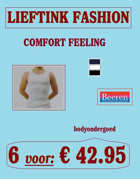 ACTIE: 6 x HEREN SINGLET COMFORT FEELING (4 zijdig Elastisch Katoen) BEEREN *bodyondergoed