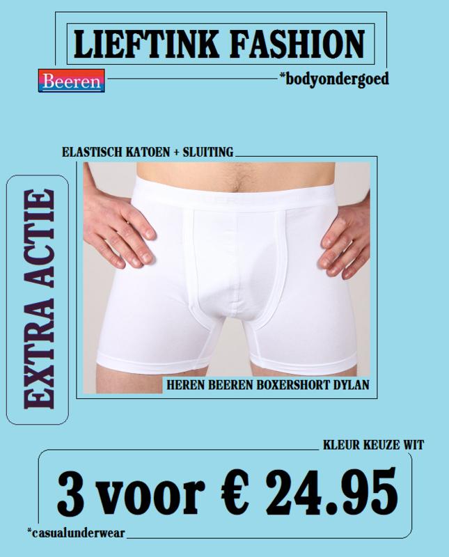 EXTRA ACTIE: 3 x BEEREN BOXERSHORT DYLAN WIT + SLUITING -ELASTISCH KATOEN- *bodyondergoed