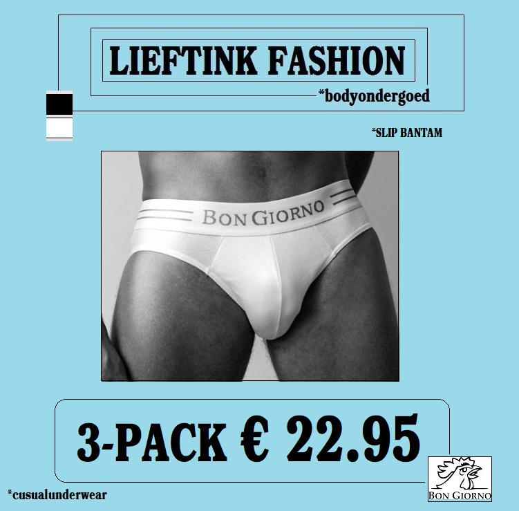 ACTIE ONLINE: 3-pack: -  BON GIORNO  - SLIP BANTAM - 100% Katoen *casualunderwear