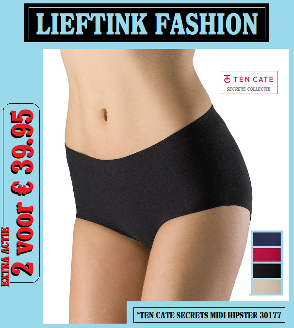 EXTRA ACTIE: 2 x TEN CATE SECRETS MIDI HIPSTER 30177 (Invisible Underwear) *bodyondergoed