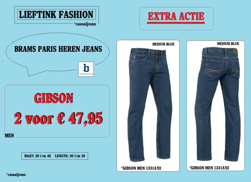 EXTRA ACTIE: 2 x BRAMS PARIS HEREN JEANS GIBSON - MEDIUM BLUE DENIM 1331A52 - *casualjeans
