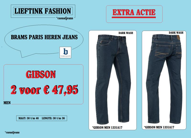 EXTRA ACTIE: 2 x BRAMS PARIS HEREN JEANS GIBSON - DARK WASH DENIM 1331A17 - *casualjeans
