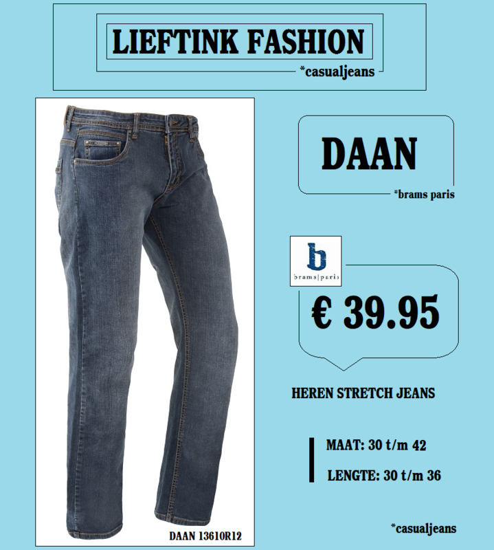ACTIE: BRAMS PARIS HEREN STRETCH JEANS DAAN MEDIUM BLUE 135610R12 *casualjeans