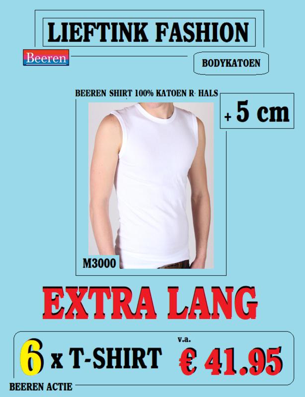 EXTRA ACTIE: 6 x BEEREN MOUWLOOS-SHIRT WIT (EXTRA LANG) Ronde-Hals M3000*bodykatoen