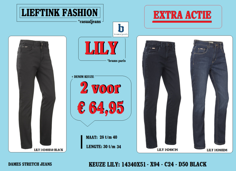 EXTRA ACTIE: 2 x BRAMS PARIS STRETCH LILY  TWILL BLACK 14340D50 + DENIM KEUZE *actiejeans