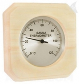 Sauna thermometer hout vierkant met beschermingsglas
