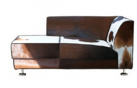 William chaise-longe in bruin koeienhuid
