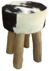 AS1220B Stool- zwart met wit koeienhuid
