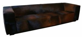 Blok 3.5 zitsbank in zwart/bruin koeienhuid