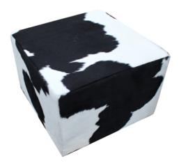 Poef , koeienhuid zwartwit, afm. 60x60x45cm