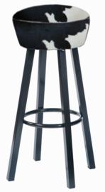 Kroeg barkruk  , in zwart met wit koeienhuid