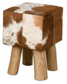 AS1210T Stool,  bruin met wit koeienhuid