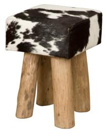 AS1230B Stool- zwart met wit koeienhuid