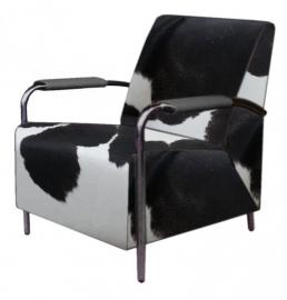 Wilma fauteuil in zwart koeienhuid