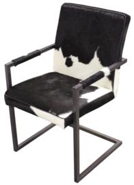 Vincent vintage stoel in zwart met wit koeienhuid