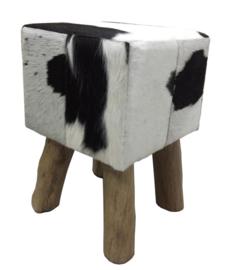 AS1210B Stool- zwart met wit koeienhuid
