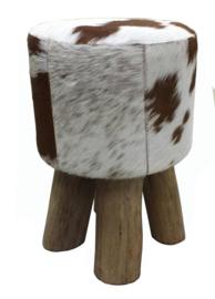 AS1200T Stool,  bruin met wit koeienhuid