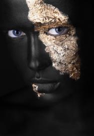 Gold face woman