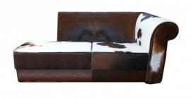 Bertha chaise longue , in bruin koeienhuid