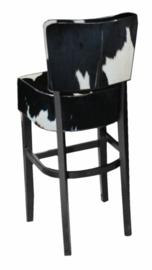 Bistro barkruk met rug, zwartwit koeienhuid