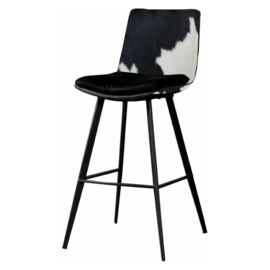 Ilona  barkruk, in zwart met wit koeienhuid