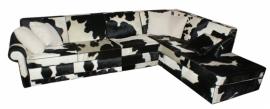 Rover 2.5 zitsbank + chaise longue in zwart/wit koeienhuid