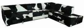 Kubus hoekbank in zwart wit koeienhuid