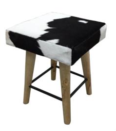 AS1250B Stool- zwart met wit koeienhuid