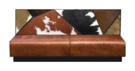 Patchwork treinbank , multicolor koeienhuid rug, lage versie