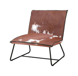 Vilar fauteuil in bruin met wit  koeienhuid