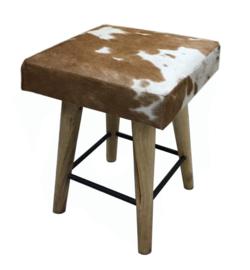AS1250T Stool,  bruin met wit koeienhuid