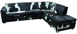Max hoekbank in zwartwit koeienhuid