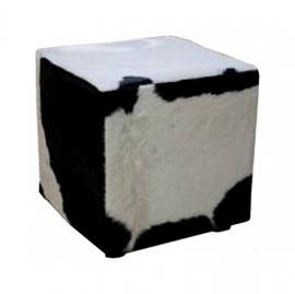 Poef, koeienhuid zwart met wit, 40x40x45cm