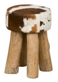 AS1220T Stool,  bruin met wit koeienhuid