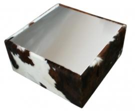 Kubus salontafel in tricolor met rvs blad, 80x80x40cm