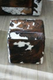 Poef  tricolor bruin 40x40x44cm