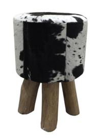 AS1200B Stool- zwart met wit koeienhuid