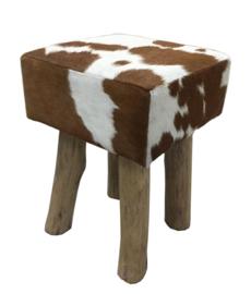 AS1230T Stool,  bruin met wit koeienhuid