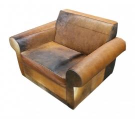 Rover fauteuil in bruin-bruin koeienhuid